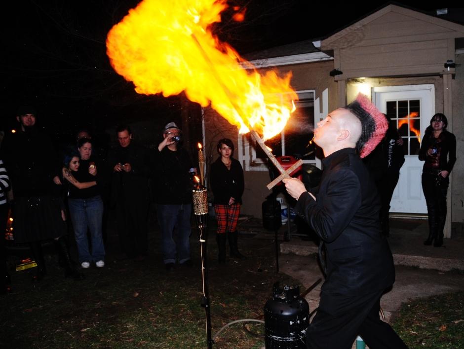 Zach breathes fire