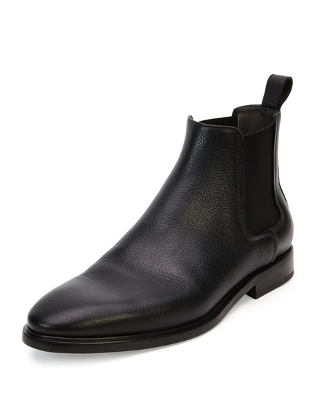 Grained Leather Chelsea Boot, Black $795.00